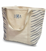 Zebra Canvas Tote Bag|Monogram