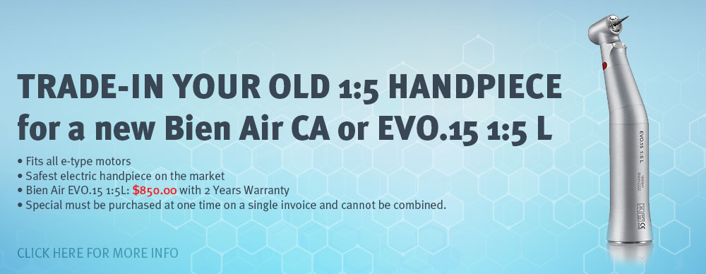 Trade-in Your Old 1:5 Handpiece for a new Bien Air CA or EVO.15 1:5 L