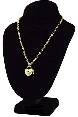 "18"" Heart & Key Pave Clear Crystal Goldtone Chain Link Charm Keyhole Necklace"