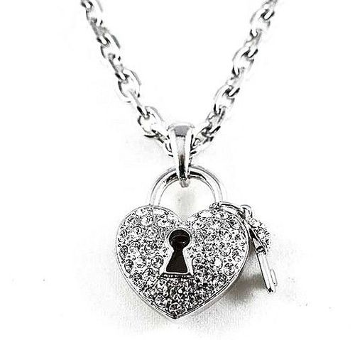 "18"" Heart & Key Pave Clear Crystal Silvertone Chain Link Charm Keyhole Necklace"