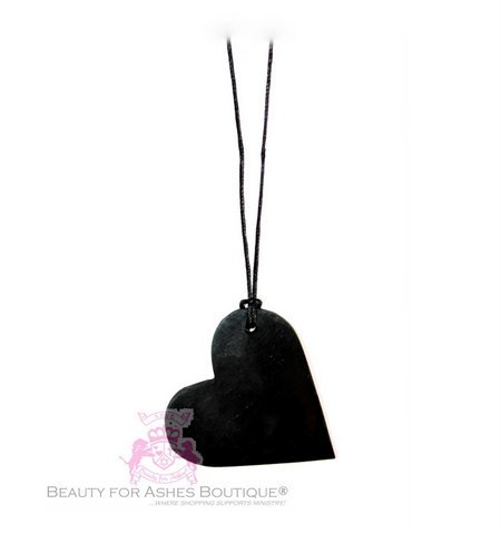 """24"""" Genuine Black Shungite Stone Natural Carbon EMF Protection Love Heart Cord Necklace"""
