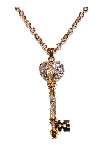 "3"" Double Gold Plated Aurora Borealis Crystal Heart Love Key Necklace"