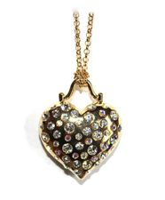 "32"" Long Beautiful Gold Aurora Borealis Crystal Heart Love Necklace"