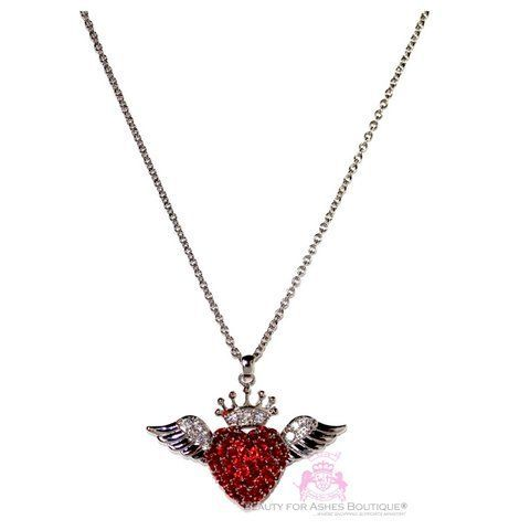A New Heart Ruby Red Cz Angel Wing Crown Center Chain Necklace