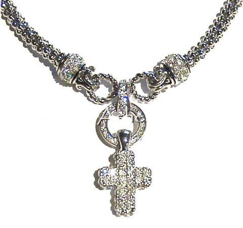 Beautiful Removable Clear Cz Cross Charm w/Cz Circle Woven Necklace