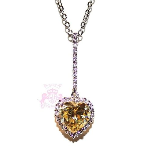 Beauty for Ashes Clear Cz Cubic Zirconia Pale Canary Yellow Love Heart Silver Tone Y Necklace