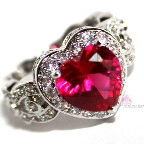 Ruby Red Heart for Jerusalem Cz Ring