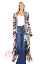 Coat of Many Colors Knit Duster Fringe Multicolor Long Cardigan