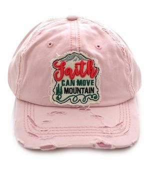 Distressed Faith Can Move Mountain Soft Light Pink Hat Cap Adjustable