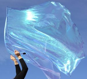 ETERNITY Iridescent Periwinkle Blue Worship Flags Set of 2 w/Flex� Rods by Beauty for Ashes�