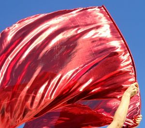 Fantastic Red Power Fire Metallic Flowy Worship Praise Flags Set of 2 Flex� Rod