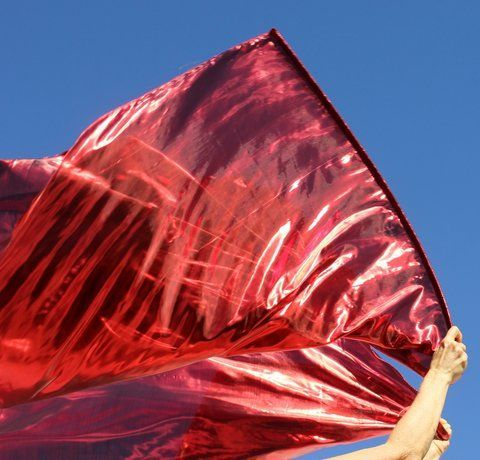 Fantastic Red Power Fire Metallic Flowy Worship Praise Flags Set of 2 Flex™ Rod