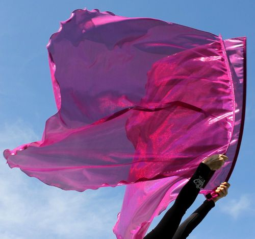Fuchsia Pink 'Rejoice!' Holographic Praise Banner Worship Flags Set of 2 by Beauty for Ashes® Superflex™ Rods