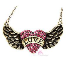 His Banner Over Me Is Love Heart Angel Wing Pink Crystal Antique Gold Necklace