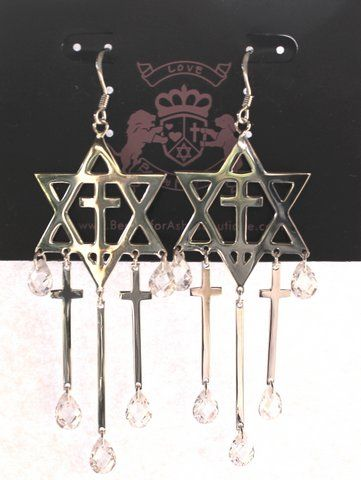 Intercession for Israel Sterling Silver Star of David Cross Cz Teardrops Earrings