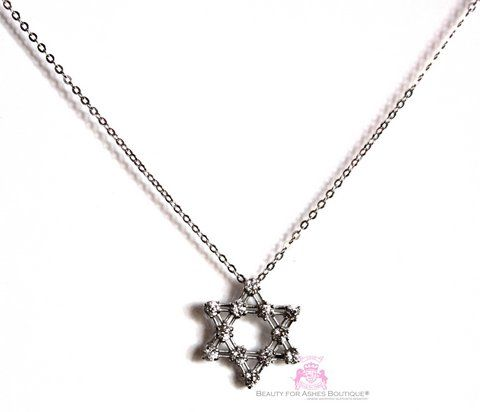 Sterling Silver Star of David Cz Necklace