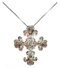 Large Silver Scrolled Vintage Cross w/Ab Clear Crystals Pendant Necklace
