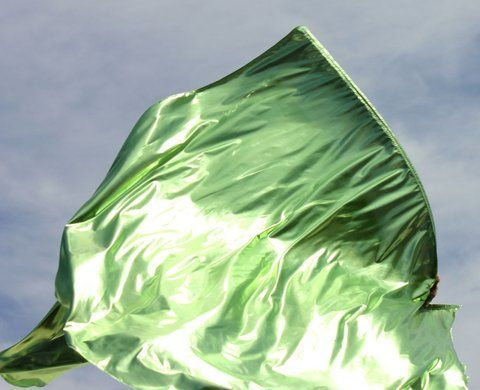 Light Peridot Metallic Gemstone Green 'The Beckoning' with Flex™ Rod Metallic Worship Flags Flexible Style Set of 2 Praise by Beauty for Ashes®