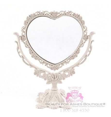 Lightweight Beautiful Intricate Floral Cream Heart Acrylic Freestanding Mirror