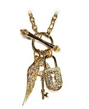 Lock Key Angel Wing Charm Gold Pave Crystal Ring & Toggle Necklace