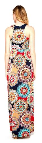 Medallion Summer Floral Multi Color Red Navy Bloom Racer-Back Tank Maxi Dress