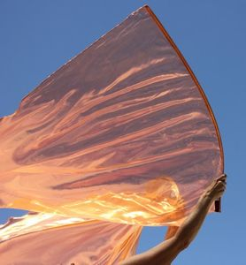 Semi-Sheer Copper Orange Fire Lame Warfare Worship Flag Set of 2 (Flexible Rod)