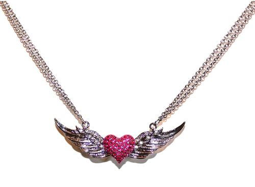Pink Heart Silver Wings Crystal Double Strand Necklace