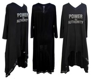 Power and Authority Black BFA Crown Luke 10:19 Hi Low Long Duster Top  - Plus Size