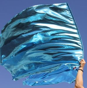 Prophetic Banner Metallic Solid Aqua Blue Wave Upon Wave Worship Flag Set of 2 with Superflex� Rods