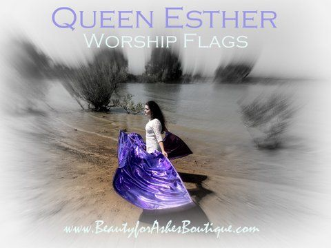 Queen Esther Hadassah 'For Such a Time as This' Purim Metallic Lavender Worship Flags Set of 2