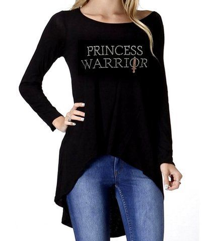 Rayon Stretch Black Ladies Womens Hi Low Princess Warrior Pink Sword Long Sleeve Top Love Beauty for Ashes® Size S M L