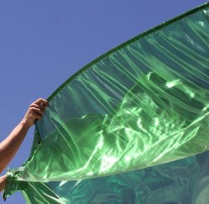 Semi-Sheer Worship Flags Green Healing for the Nations with Flex™ Rod Flexible Style Set of 2 Praise Banner