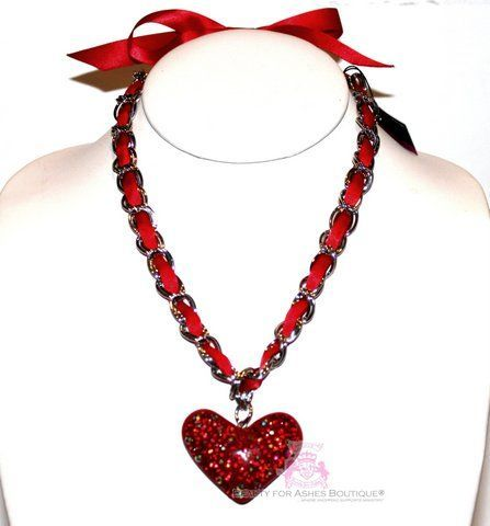Silver Chain Bow Girls Womens Crystal Red Ribbon Heart Valentine Love Necklace