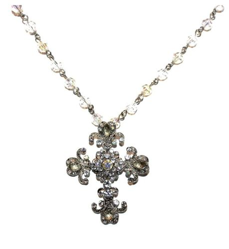 Vintage Scrolled Cross with Faceted Bead Chain in Clear Aurora Borealis Necklace