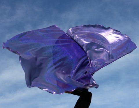 'Wedding Banquet' Sparkly Holographic Deep Amethyst Purple Worship Banner Flags Set of 2 Flex™ Rod