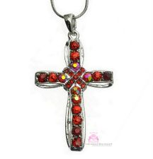 Womens Girls Aurora Borealis Crystal Red Cross Pendant Necklace