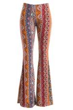 Womens Multi Color Moroccan Bell Bottom Flare Hippie Pants S M L