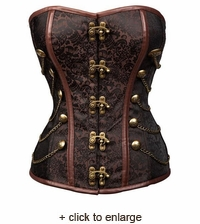 Steampunk Brocade Overbust Corset with Chains