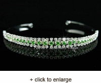 Three Row Green Crystal Tiara Headband