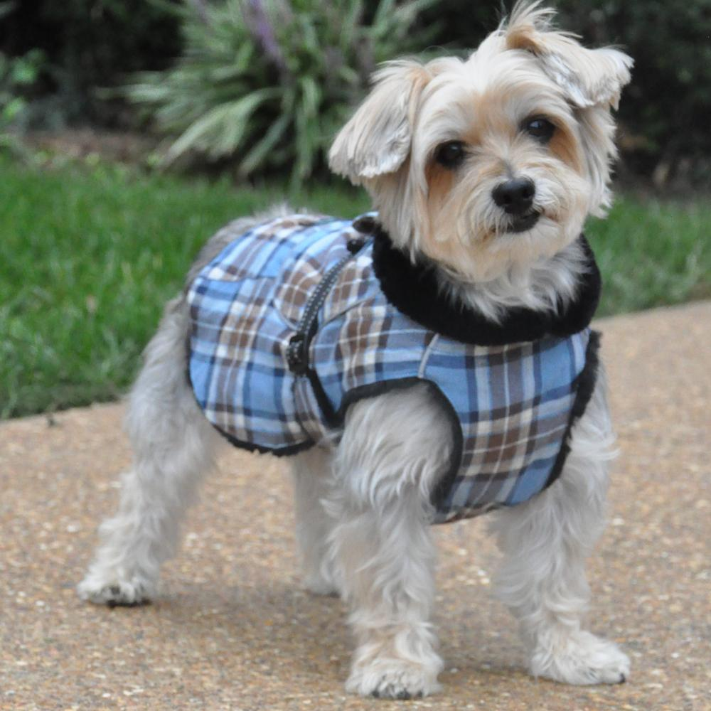 Dog Plaid Faux Fur Lined Winter Coat With Harness Opening | Flannel