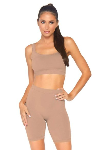 Seamless Opaque Spandex Crop Tank Set
