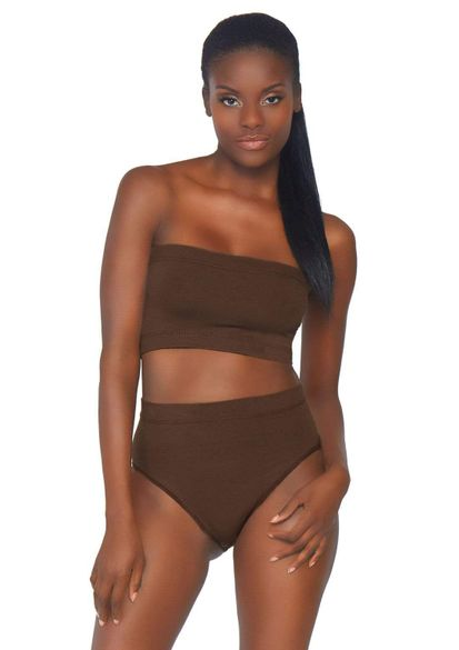 Seamless Microfiber Ribbed Bandeau Top & Brief