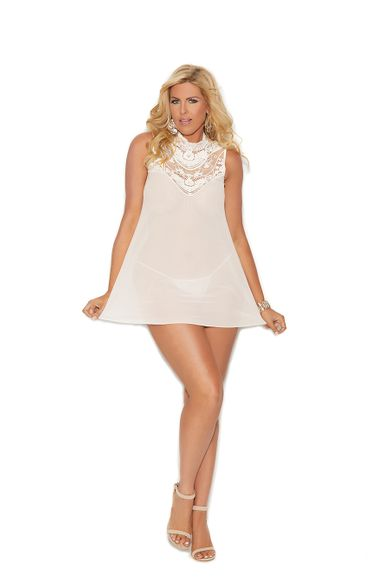 Plus Elegant Moments 44001X Mock Neck Babydoll