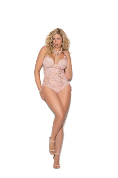 Plus Size Elegant Moments 7277X Lace Teddy W/Cutout Back