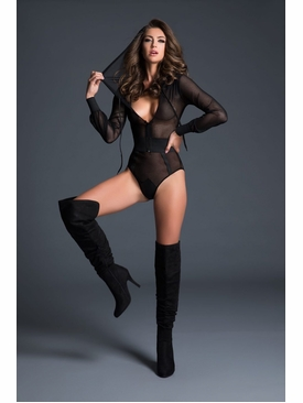 Adore A1021 Fishnet Bodysuit With Hoodie & Cutout Back