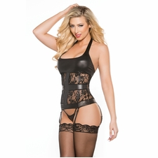 Allure 11-2602K Lace and Vinyl Halter Style Corset