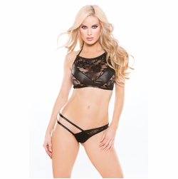 Allure 12-8502K Kitten Lace Wet Look Top And G-String Set