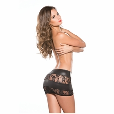 Allure 13-5602K Lace and Vinyl Short Skirt
