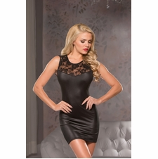 Allure 17-1772 Wet-Look Lace Mini Dress