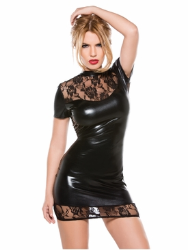 Allure 17-6502K Lace and Wet Look Dress